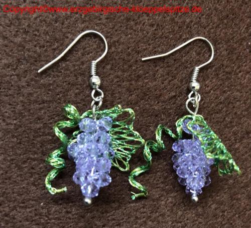 Weinlaub Schmuck mit Perlentrauben (Ohrringe) / Vine Leaves Jewelry with Bead Grapes (Earrings)